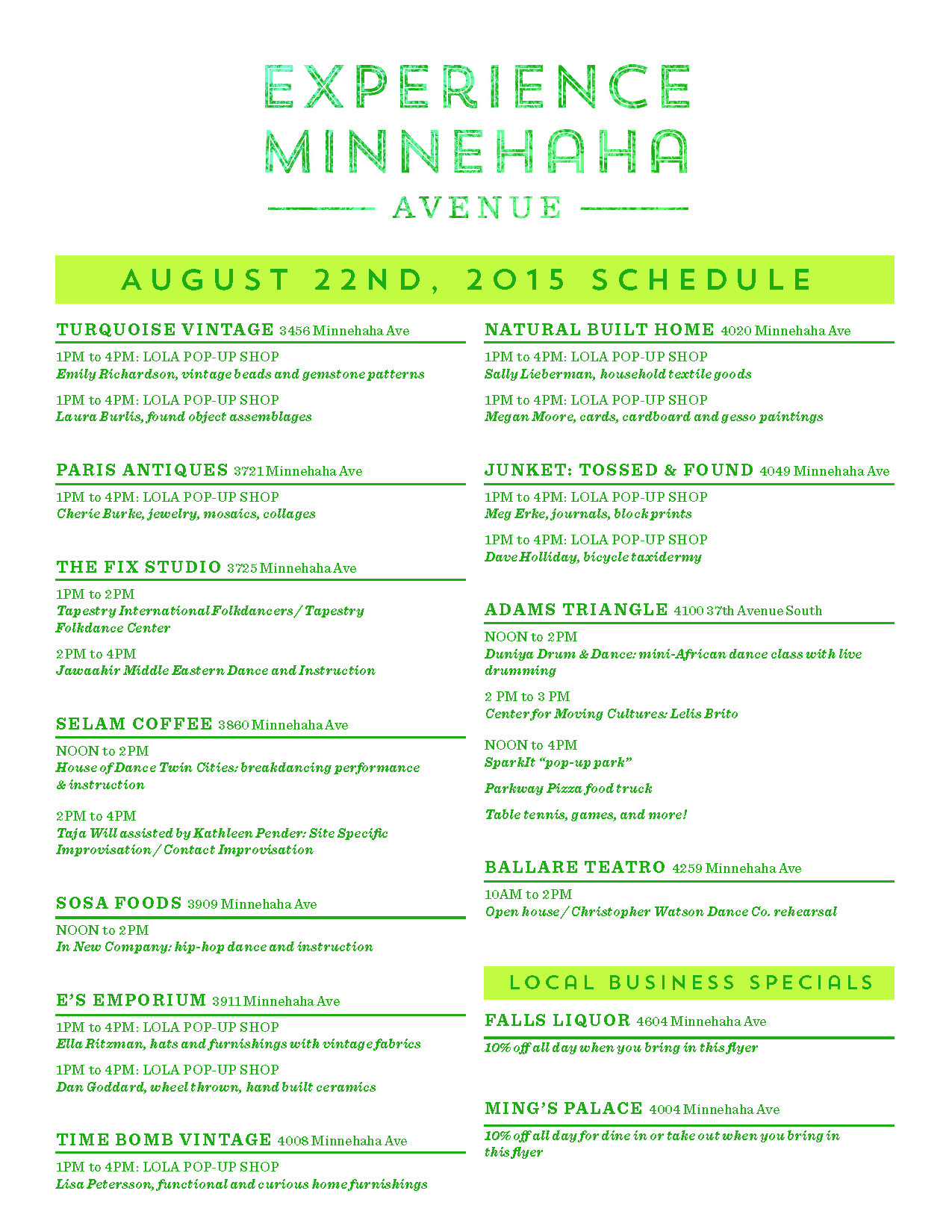 Aug 22 Experience Minnehaha Schedule