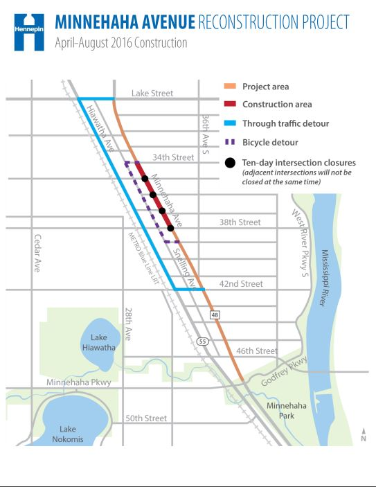 Minnehaha reconstruction Phase 3 detour